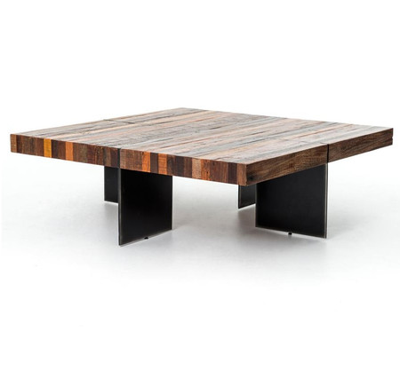 Living room coffee tables alec industrial amp rustic square coffee table