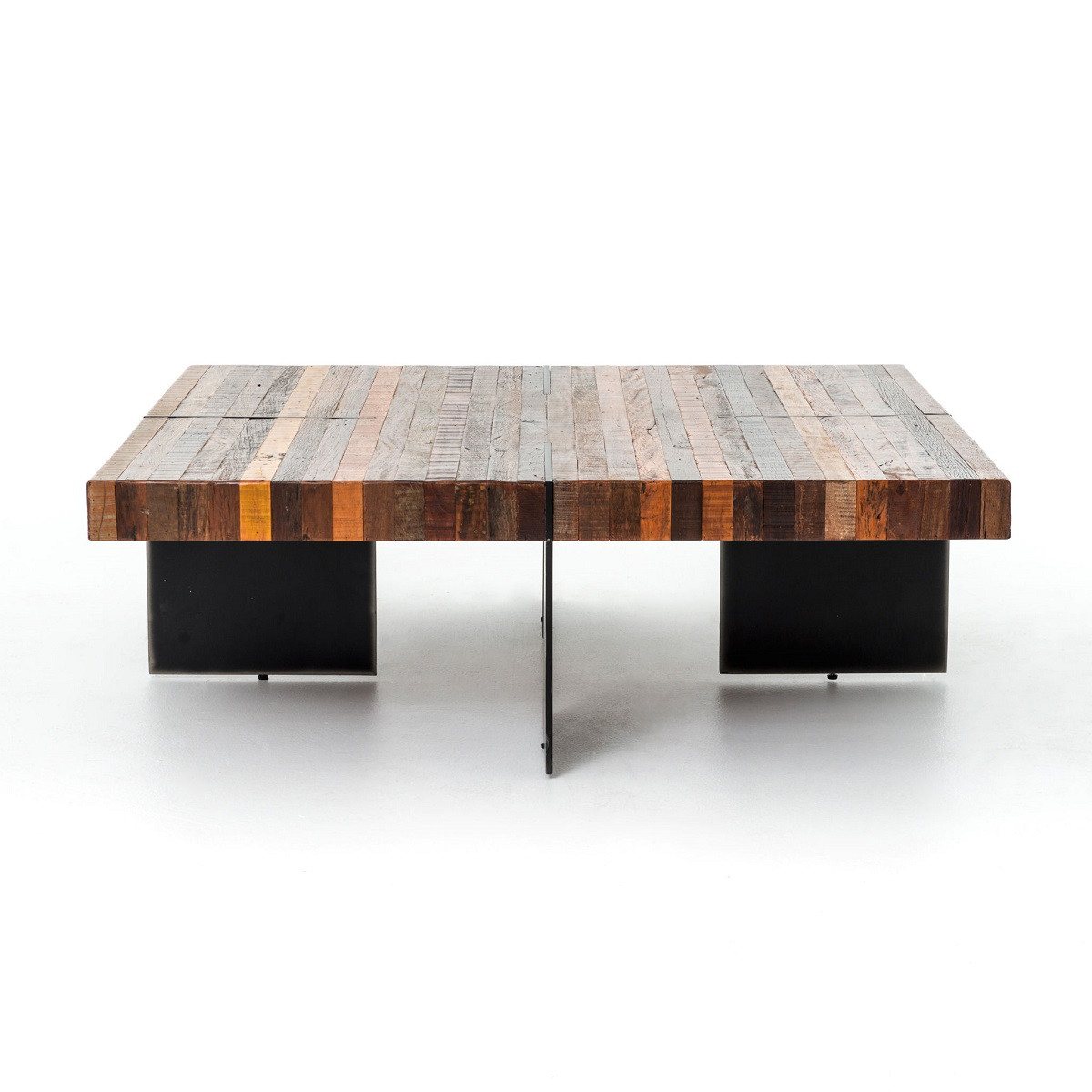 Beautiful New York Loft Reclaimed Wood Coffee Tables: Bina Alec Industrial & Rustic Square Coffee Table