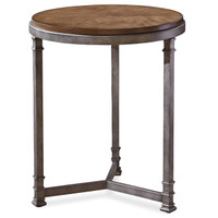 Maison Industrial Metal Leg + Wood Round Side Table
