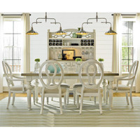 Country-Chic Wood 7 Piece White Expandable Dining Room Set