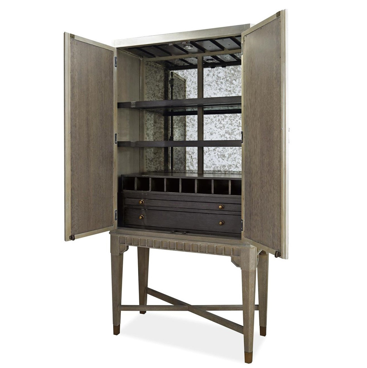 Playlist Vintage Grey Oak Antique Mirrored Bar Cabinet