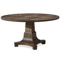 Playlist Vintage Brown Oak Pedestal Round Dining Table 58""