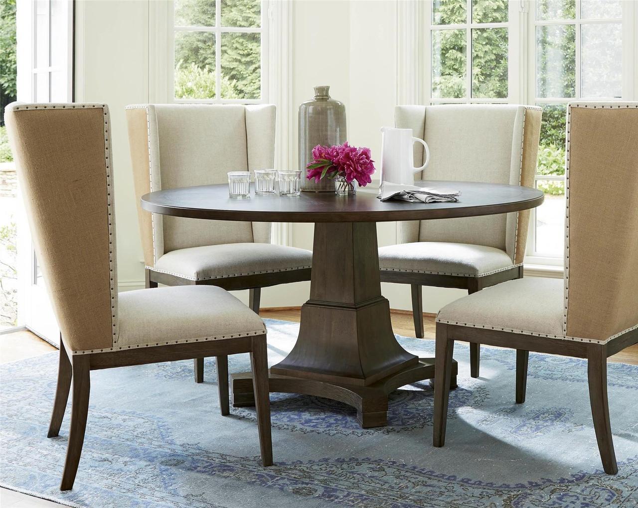Playlist Vintage Oak Upholstered Dining Host Chair | Zin Home