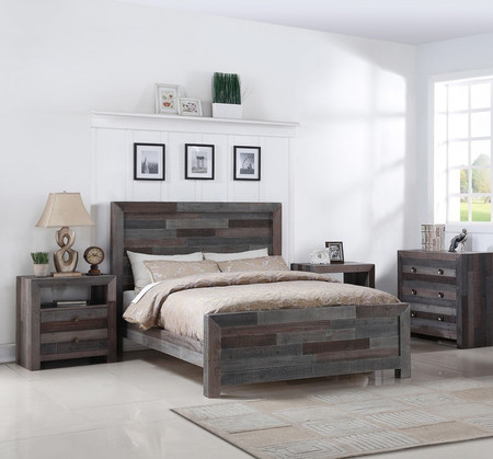 Angora reclaimed wood queen size platform bed storm zin home for Grey wood bedroom furniture set