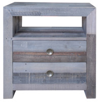 Angora Storm Reclaimed Wood 2 Drawer Bedside Cabinet