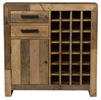 Angora Natural Reclaimed Wood 28-Bottle Wine Cabinet