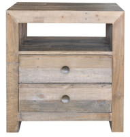 Angora Natural Reclaimed Wood 2 Drawer Bedside Table