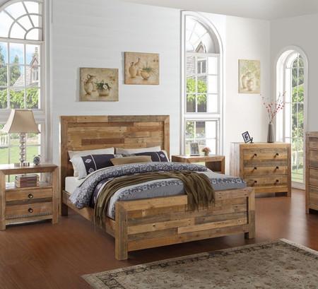 Angora Natural Reclaimed Wood King Platform Bed Frame
