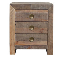 Angora Natural Reclaimed Wood 3 Drawer Nightstand