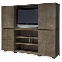 Playlist Vintage Oak Stacking Media Chest with Sliding Doors
