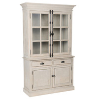 Chateau Solid Wood 2 French Door Hutch Cabinet- Antique White