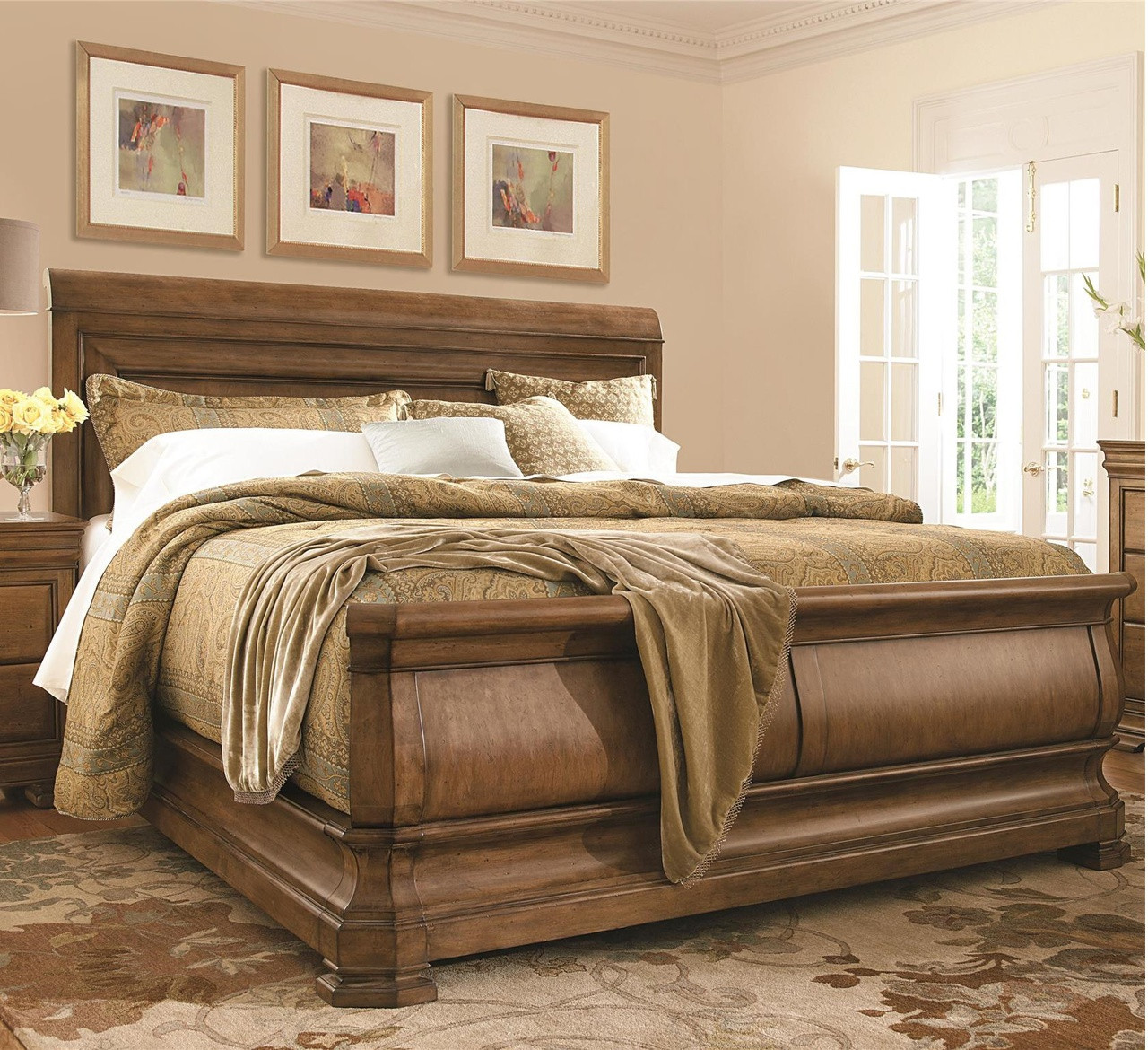 french louis philippe solid wood king sleigh bed - King Sleigh Bed