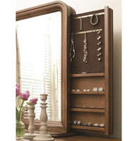 Louis Philippe Solid Wood Bedroom Mirror with Jewelry Storage