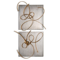 Harmony Abstract Gold Leaf Metal Wall Art