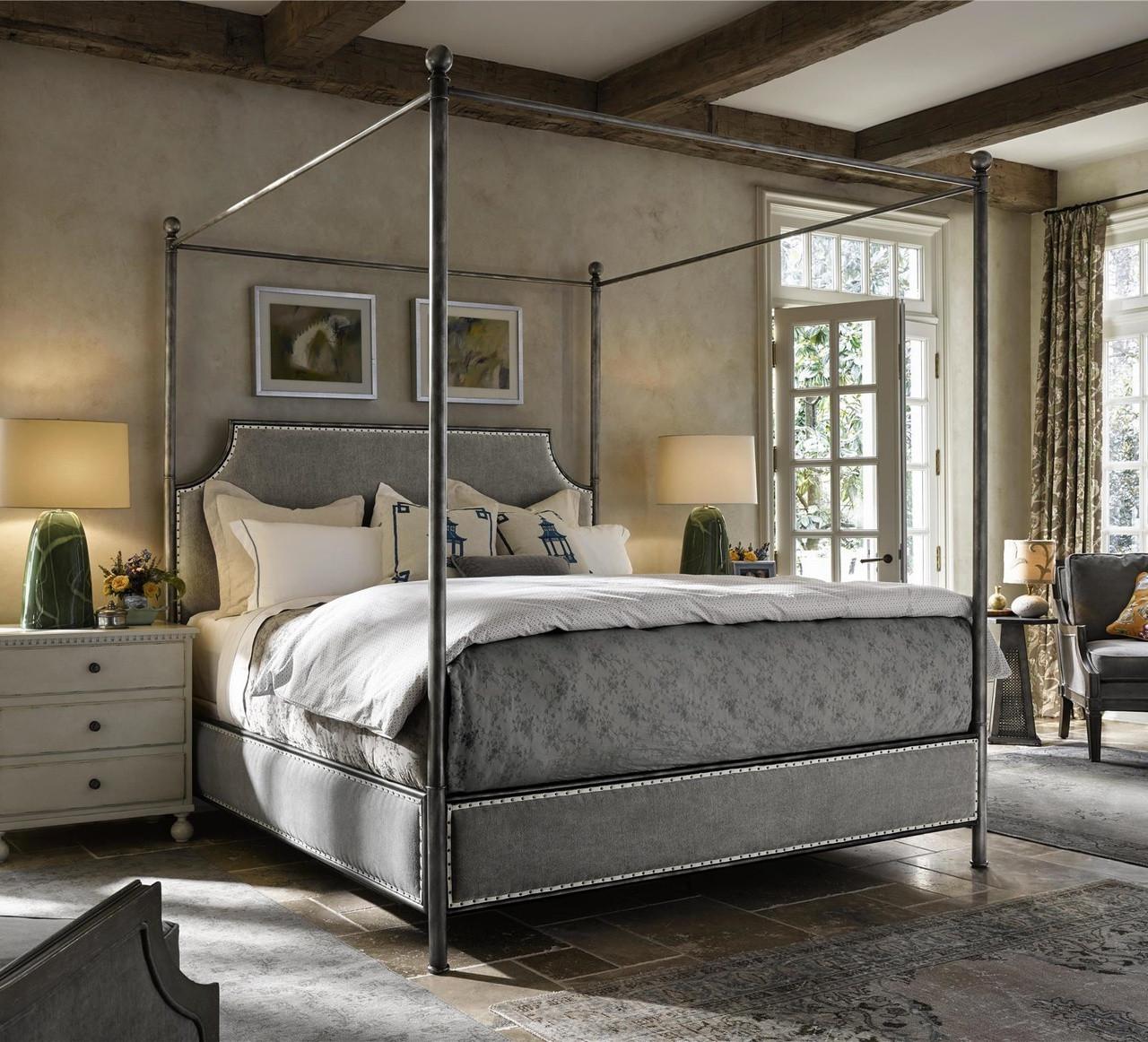 Sojourn Respite Grey Linen Upholstered King Iron Canopy