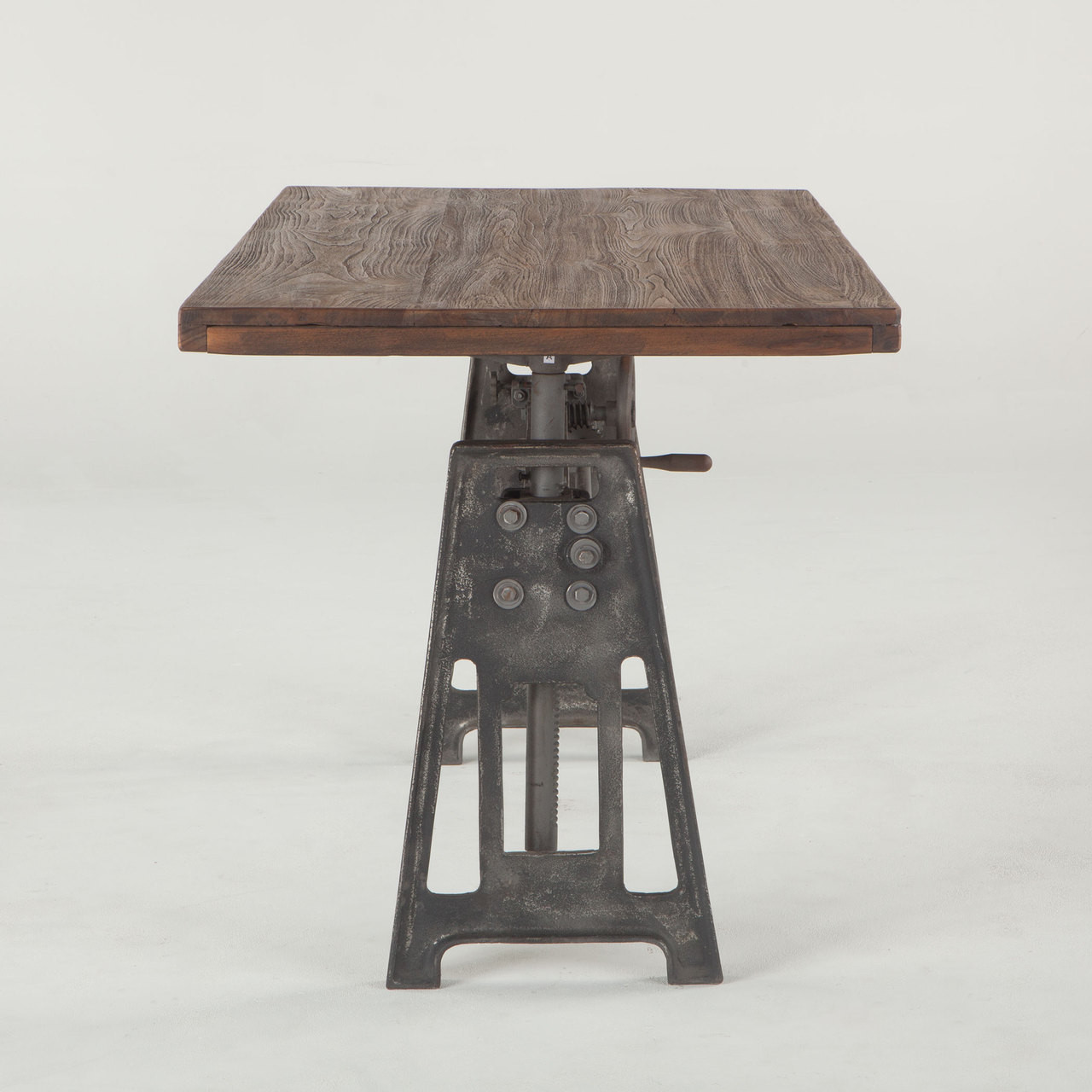 French Industrial Loft Metal and Wood Crank Adjustable Table Zin
