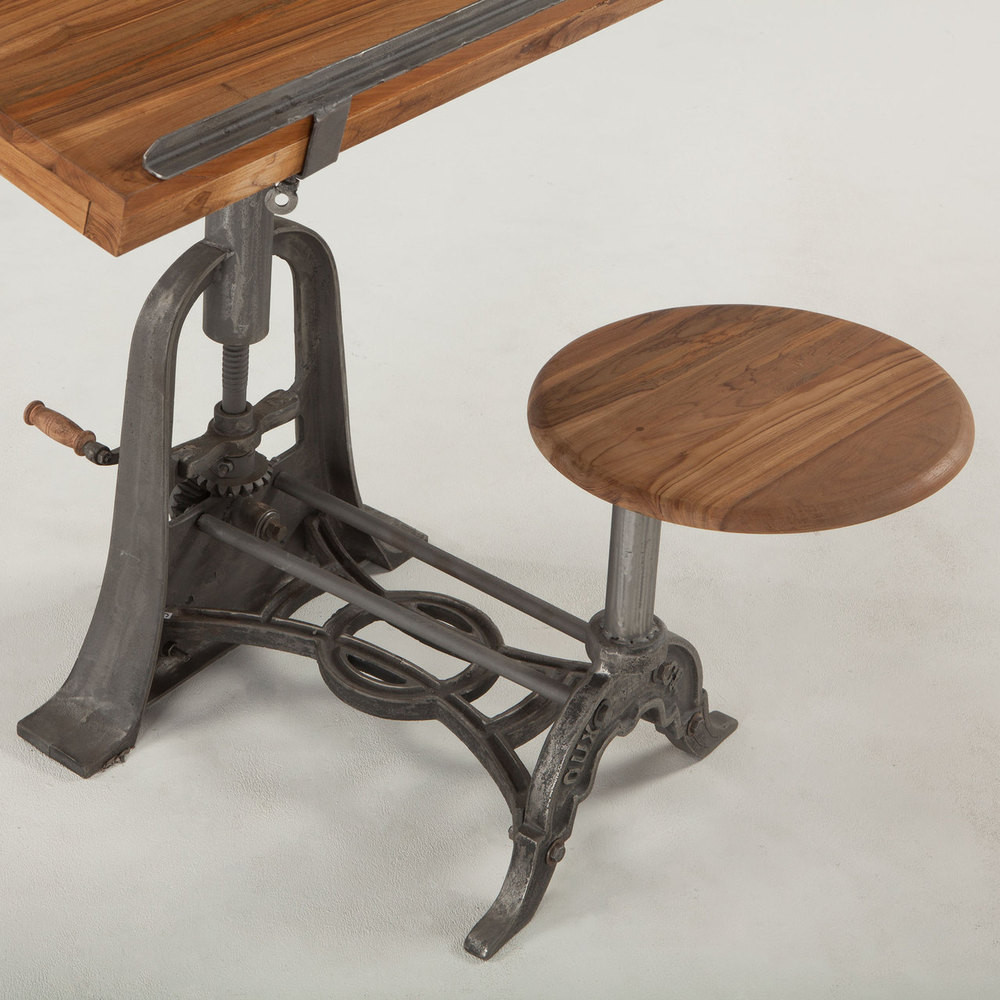 french vintage industrial architect drafting table with attached seat