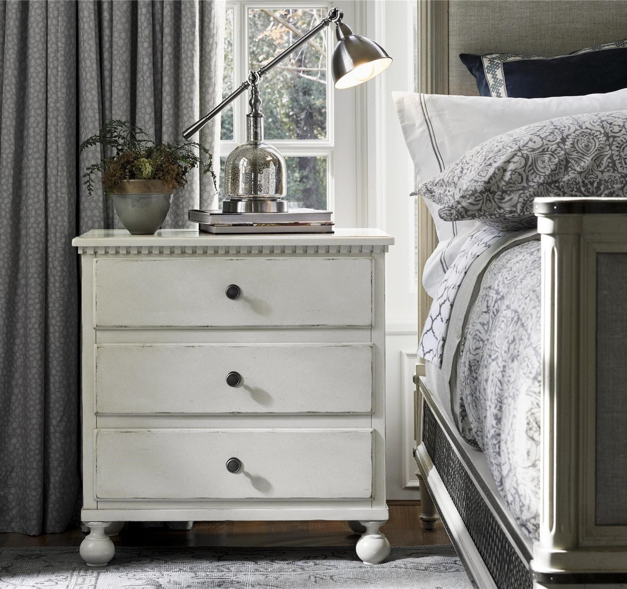 Sojourn french country white 3 drawers nightstand zin home for French country white
