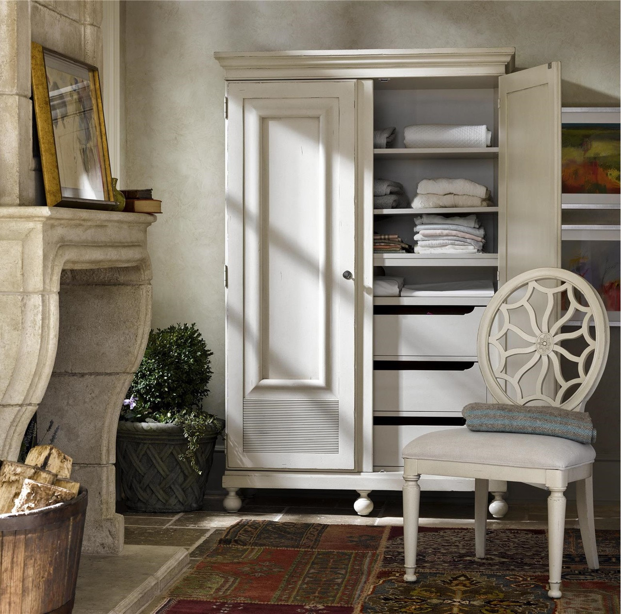 Sojourn French Country White Armoire Wardrobe Zin Home