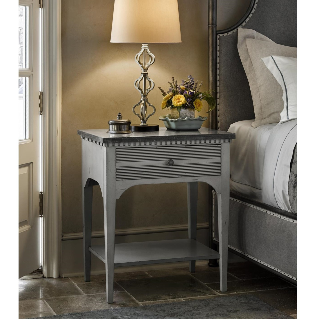 Sojourn French Country Gray Nightstand With Bluestone Top Zin Home - French country nightstand