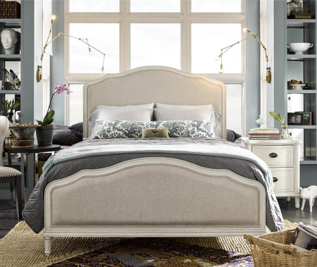 Amity French Oak Upholstered Queen Panel Bed White Zin