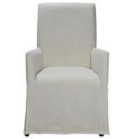 Sojourn Linen Upholstered Skirted Dining Arm Chair