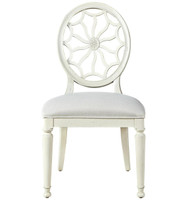 Sojourn Slip Upholstered Medallion Side Chair - White
