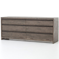 Stria Wooden 6-Drawer Dresser - Earth Grey