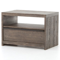Stria Distressed Wood 1-Drawer Nightstand- Grey
