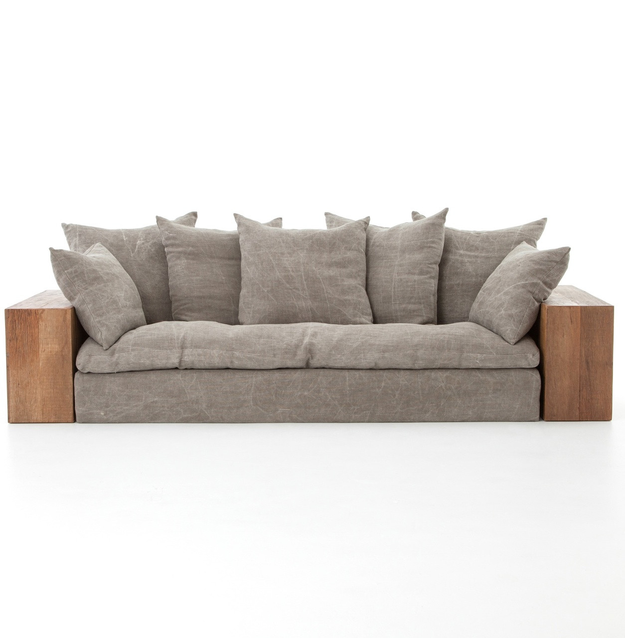 Industrial furniture sofa -  Wright Rustic Lodge Wood Block Stonewash Grey Taupe Jute Sofa