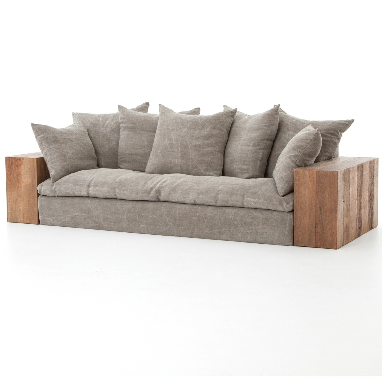 Industrial furniture sofa - Dorset Industrial Loft Taupe Jute Sofa With Wood Arms