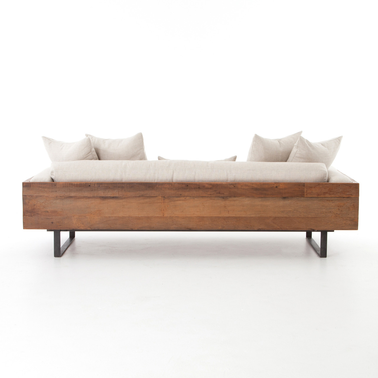 Ranger industrial loft reclaimed wood sofa zin home for Industrial couch