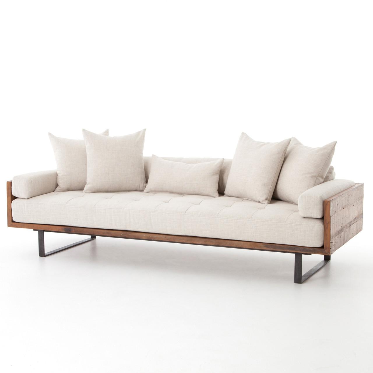 Industrial furniture sofa - Ranger Industrial Loft Reclaimed Wood Sofa Natural Linen