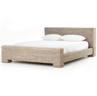 Bali Woven Rattan Queen Platform Bed - Gray Abaca