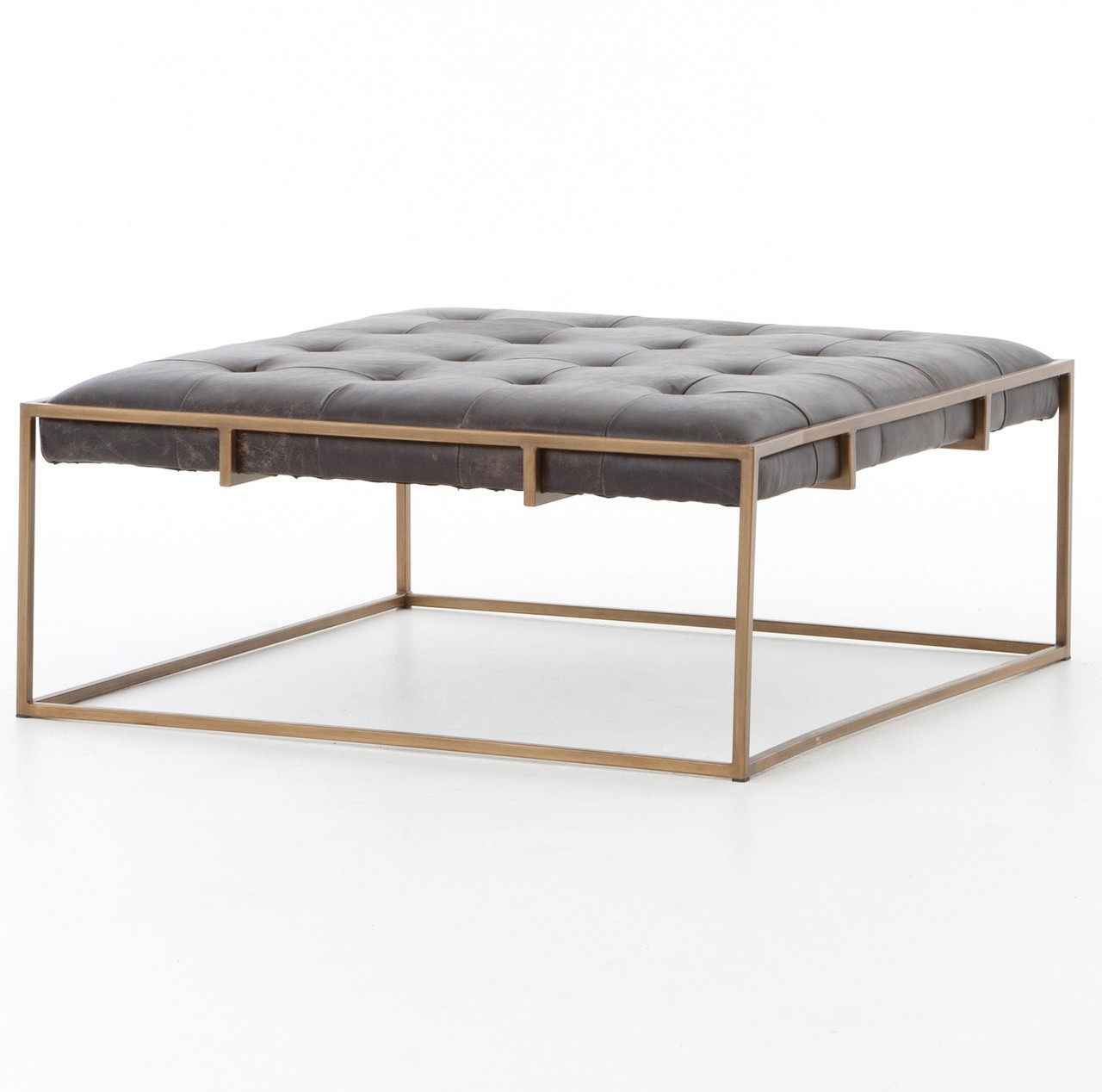 oxford tufted black leather square ottoman coffee table | zin home