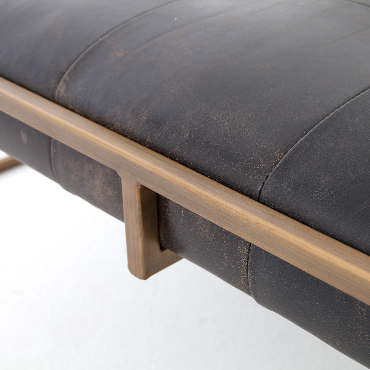 Suffolk Simplicity Reclaimed Wood Square Industrial Coffee: Oxford Tufted Black Leather Square Ottoman Coffee Table