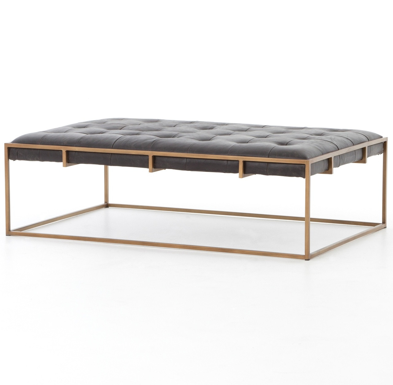 """Oxford Tufted Black Leather Ottoman Coffee Table 50"""""""
