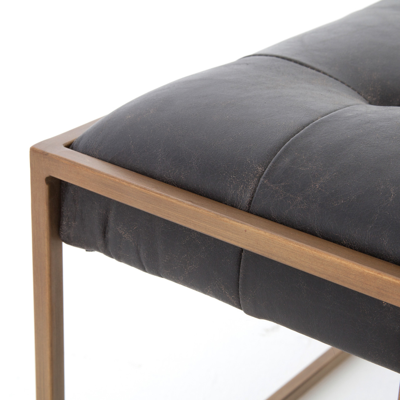 Oxford Tufted Black Leather Ottoman Coffee Table 50 Quot Zin