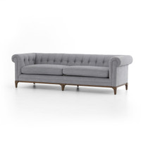 Kensington Grey Linen Upholstered Chesterfield Sofa