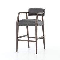 Tyler Mid-Century Modern Black Leather Bar Stool