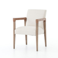 Reuben Oak Wood Linen Upholstered Dining Chair