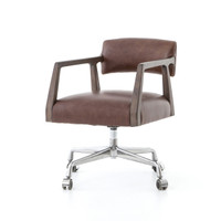 Tyler Mid-Century Modern Brown Leather Office Desk Chair