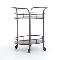 Teague Antiqued Brass Oval Bar Cart