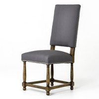 Spanish Grey Cotton Upholstered High-Back Dining Chair