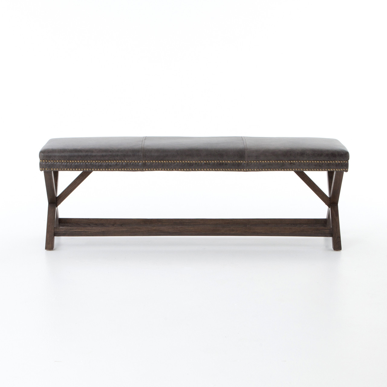 French Modern X Base Leather Bench Zin Home