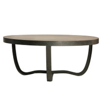Industrial Metal Base Round Wooden Coffee Table