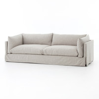 Loft Modern Beige Slipcovered Lounge Sofa 90""