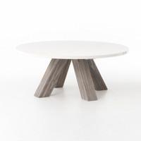 Texas Barn Modern Grey Round Coffee Table - white top