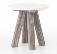Texas Barn Modern White Round Side End Table