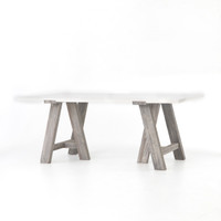 Texas Barn Modern Sawhorse White Top Dining Room Table